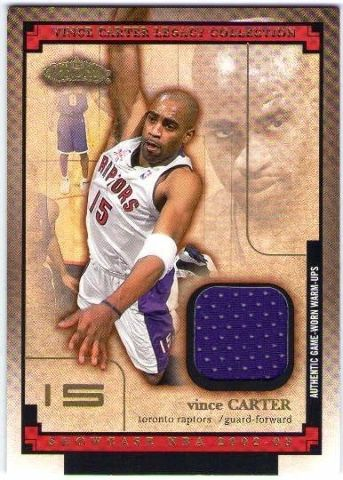 VINCE CARTER 2002-03 Fleer Showcase Legacy Collection Warm-Ups Swatch Card BV$20