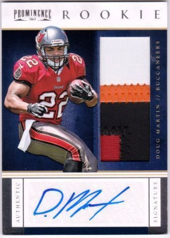 DOUG MARTIN 2012 Prominence #232 51/90 RC Rookie Card Prime Jersey Patch Auto
