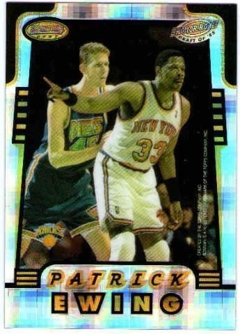 KARL MALONE PATRICK EWING 1996-97 Bowman's Best Honor Roll Atomic Refractor Card