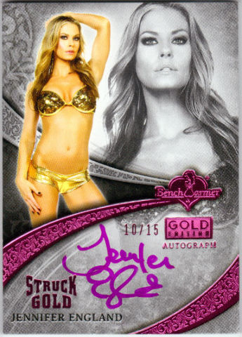 JENNIFER ENGLAND 2013 Bench Warmer Gold Edition 10/15 Pink Foil Auto On Card  (x)