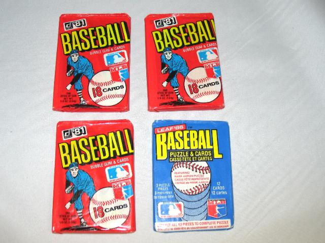 3 Packs 1981 Donruss Baseball Wax Packs & 1 Pack 1986 Leaf Baseball Wax Pack Lot