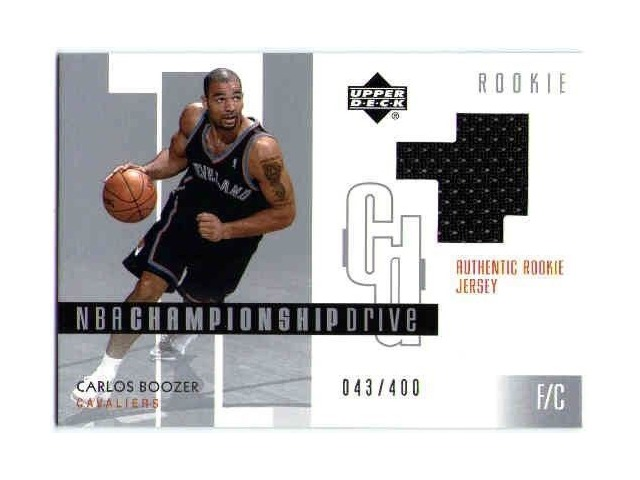CARLOS BOOZER 2002-03 Upper Deck Championship Drive 43/400 Rookie Jersey Card