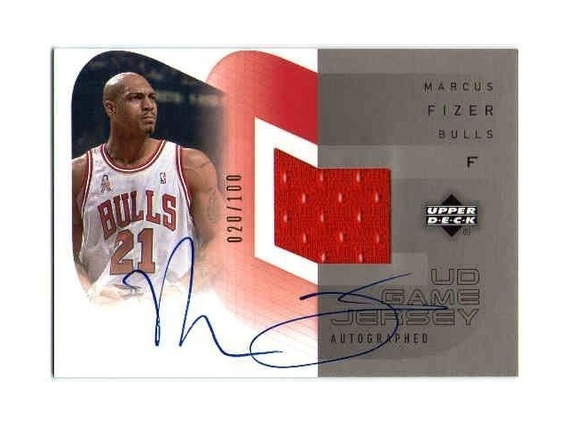 MARCUS FIZER 2002-03 Upper Deck Game Used Jersey Auto 20/100 Card 02/03 BV$25