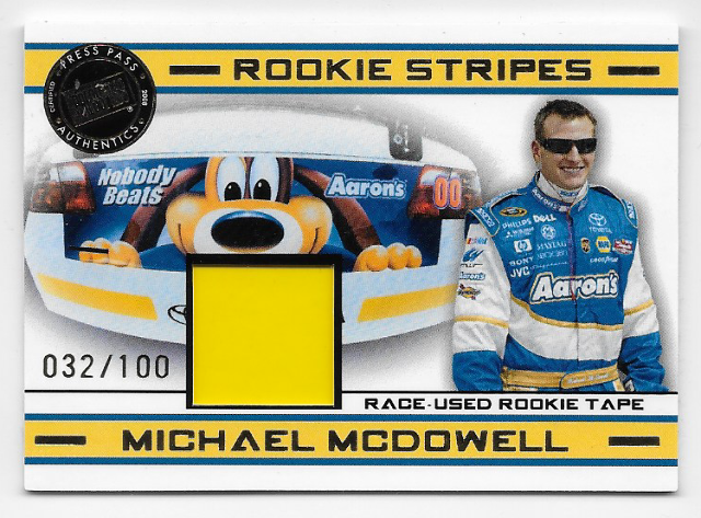 Michael McDowell NASCAR 2008 Press Pass Rookie Stripes Memorabilia/100 rookie tape   (x)