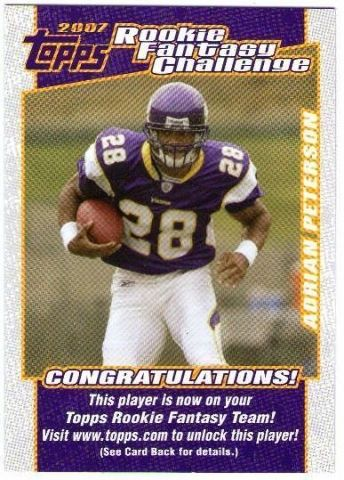 ADRIAN PETERSON 2007 Topps Rookie Fantasy Challenge Card #2