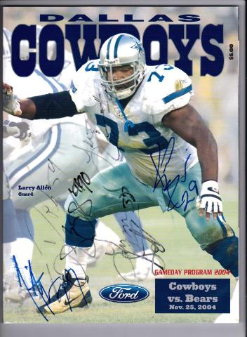 2004 Dallas Cowboys vs Bears Autographed Game Program Big $100 Bill Ticket Stub