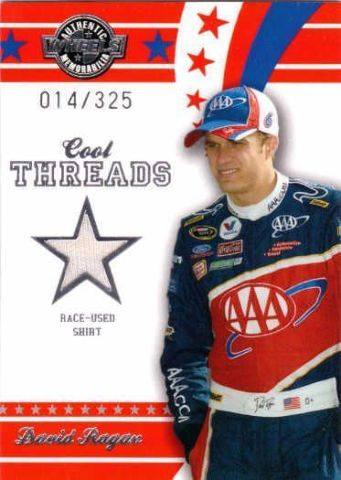 DAVID RAGAN 2008 Wheels Cool Threads Race Used Rookie Shirt Card /325 #CT12