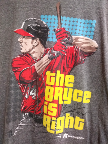 Pro Merch Washington Nationals Bryce Harper Bryce Is Right Gray T-Shirt Size M