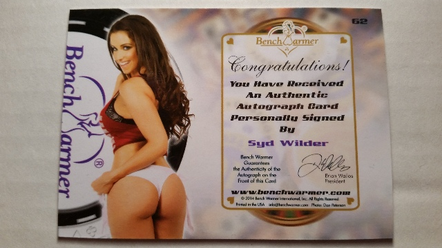 Syd Wilder 66 2014 Bench Warmer Eclectic Autograph Auto