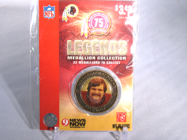 DAVE BUTZ Washington Redskins Legends 2007 Collectible Medallion Coin