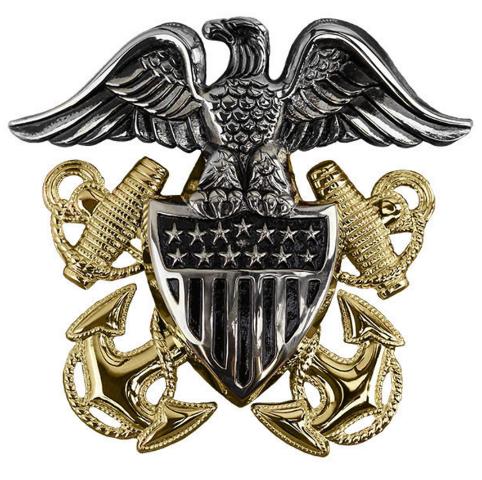 Vanguard Navy Cap Device Officer High Relief Unmounted Regulation Size