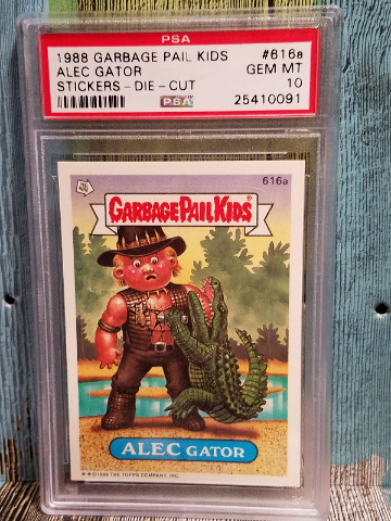 Alec Gator 1988 Garbage Pail Kids #616a Stickers-Die-Cut PSA 10