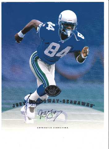 1997 Leaf Authentic Signatures 8x10 Card Joey Galloway Seattle Seahawks Auto