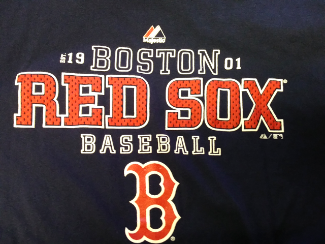 Majestic BOSTON RED SOX Long Sleeve Navy Blue T-Shirt Size M MLB Baseball