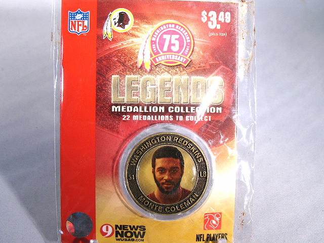 MONTE COLEMAN Washington Redskins Legends 2007 Collectible Medallion Coin
