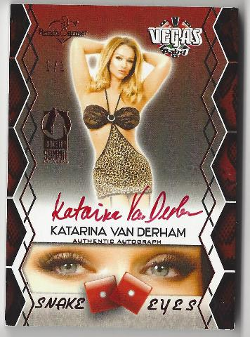 Katrina Van Derham 2014 Bench Warmer Vegas Baby 1/1 Red Autograph Snake Eyes