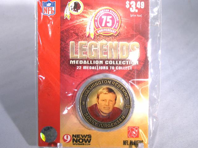 SONNY JURGENSEN Washington Redskins Legends 2007 Collectible Medallion Coin