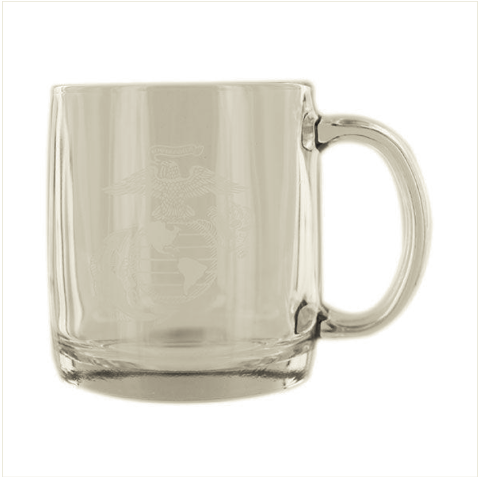 Vanguard GLASS COFFEE MUG: ETCHED EGA
