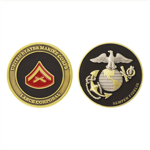Vanguard MARINE CORPS COIN: LANCE CORPORAL 1.75""