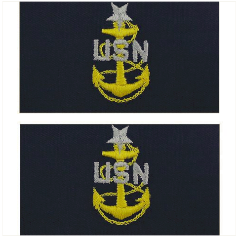 Vanguard NAVY EMBROIDERED COLLAR DEVICE: E8 CPO: SENIOR EMBROIDERED ON COVERALL