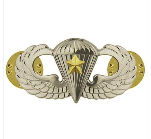 Vanguard ARMY BADGE: COMBAT PARACHUTE FIFTH AWARD - MIRROR FINISH