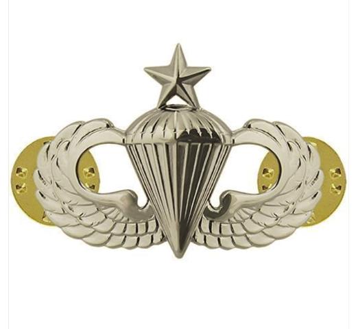 Vanguard ARMY BADGE: SENIOR PARACHUTE - REGULATION SIZE, MIRROR FINISH