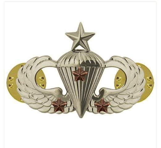 Vanguard ARMY BADGE: SENIOR COMBAT PARACHUTE THIRD AWARD - MIRROR FINISH