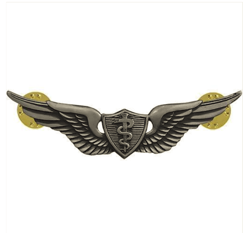 Vanguard ARMY BADGE: FLIGHT SURGEON - REGULATION SIZE, SILVER OXIDIZED