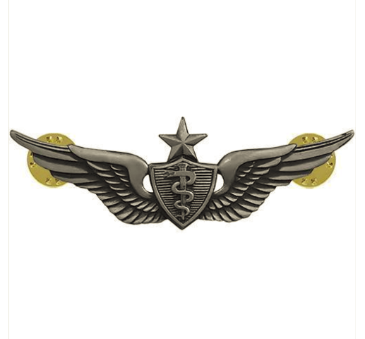Vanguard ARMY BADGE: SENIOR FLIGHT SURGEON - REGULATION SIZE, SILVER OXIDIZED