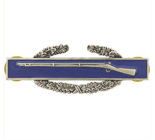 Vanguard ARMY BADGE COMBAT INFANTRY FIRST AWARD REGULATION SIZE, SILVER OXIDIZED