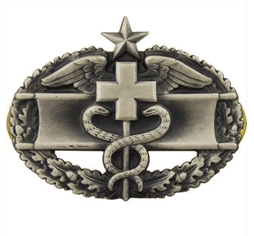 Vanguard ARMY BADGE: COMBAT MEDICAL SECOND AWARD - SILVER OXIDIZED