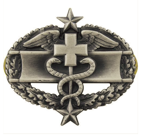 Vanguard ARMY BADGE: COMBAT MEDICAL THIRD AWARD - SILVER OXIDIZED