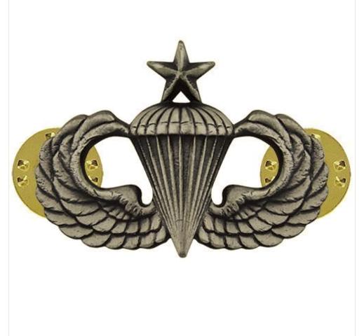 Vanguard ARMY BADGE: SENIOR PARACHUTE - REGULATION SIZE, SILVER OXIDIZED