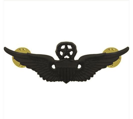 Vanguard ARMY BADGE: MASTER AVIATOR - REGULATION SIZE, BLACK METAL