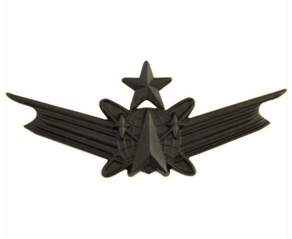 Vanguard ARMY BADGE: SENIOR SPACE COMMAND - REGULATION SIZE, BLACK METAL