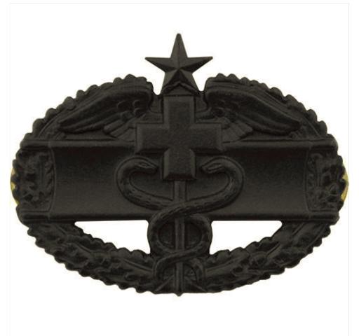 Vanguard ARMY BADGE: COMBAT MEDICAL SECOND AWARD - BLACK METAL