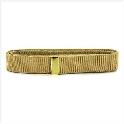 Vanguard NAVY BELT: KHAKI COTTON WITH BRASS TIP - MALE