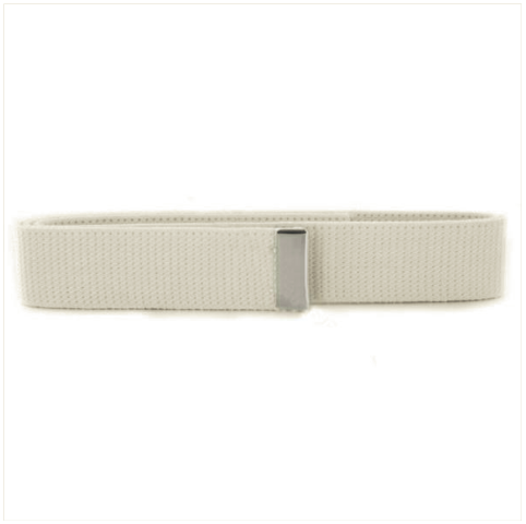 Vanguard NAVY BELT: WHITE COTTON WITH SILVER MIRROR TIP - FEMALE
