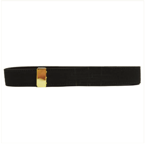 Vanguard NAVY BELT: BLACK POLY-WOOL WITH 24K GOLD TIP - FEMALE