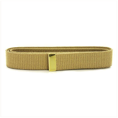 Vanguard NAVY BELT: KHAKI COTTON WITH 24K GOLD TIP - FEMALE