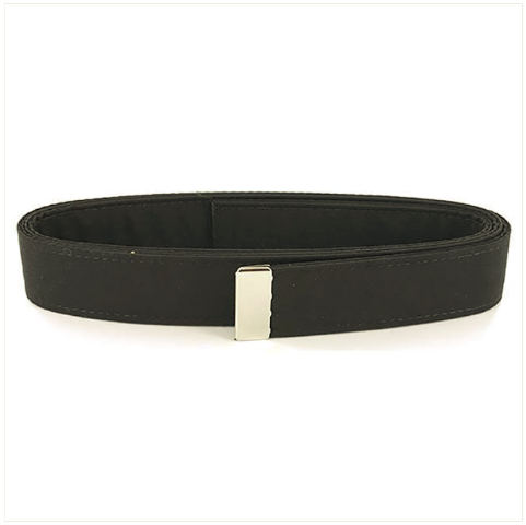 Vanguard NAVY BELT: BLACK POLY-WOOL WITH SILVER MIRROR TIP - MALE XL