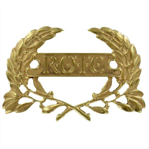 Vanguard ARMY ROTC CAP DEVICE: WREATH WITH ROTC LETTERS IN PANEL - GOLD PLATED