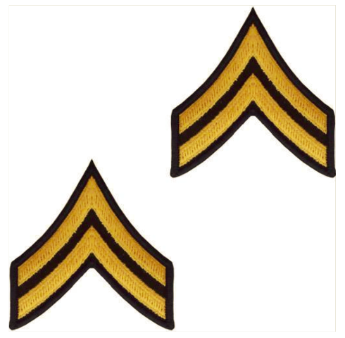 Vanguard ARMY CHEVRON: CORPORAL - GOLD EMBROIDERED ON GREEN, MALE