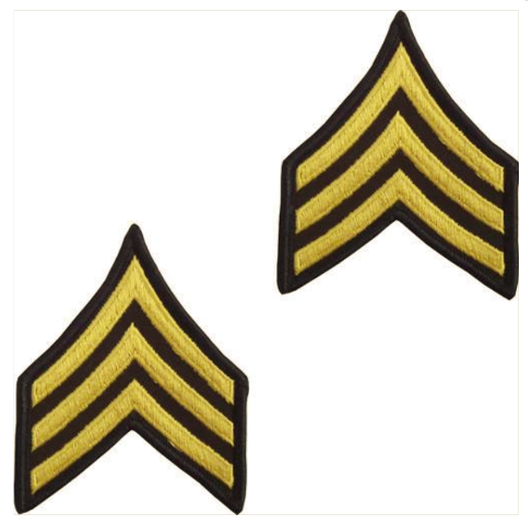 Vanguard ARMY CHEVRON: SERGEANT - GOLD EMBROIDERED ON GREEN, MALE