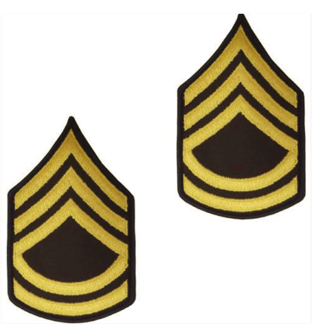 Vanguard ARMY CHEVRON: SERGEANT FIRST CLASS - GOLD EMBROIDERED ON GREEN, MALE