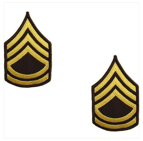 ARMY CHEVRON SERGEANT FIRST CLASS MALE GOLD EMBROIDERED ON WHITE
