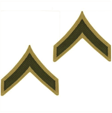 Vanguard MARINE CORPS CHEVRON: PRIVATE FIRST CLASS - PFC - GREEN ON KHAKI, MALE
