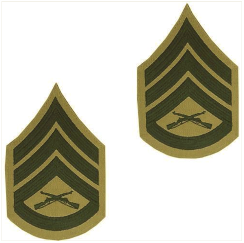 Vanguard MARINE CORPS CHEVRON: STAFF SERGEANT - GREEN EMBROIDERED ON KHAKI, MALE