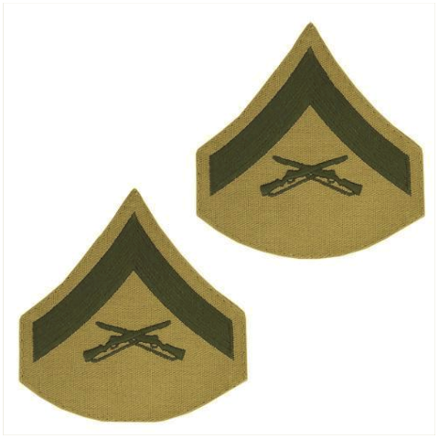 Vanguard MARINE CORPS CHEVRON: LANCE CORPORAL GREEN EMBROIDERED ON KHAKI, FEMALE