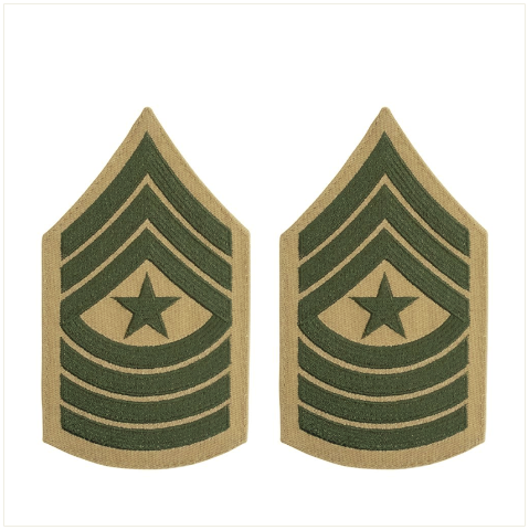 Vanguard MARINE CORPS CHEVRON: SERGEANT MAJOR GREEN EMBROIDERED ON KHAKI, FEMALE